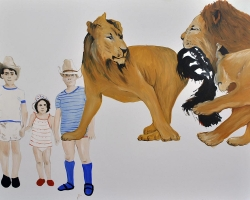 Wild Things_Peti, Rita, Gyuri 2013 oil on canvas 38 x 48 inche $750