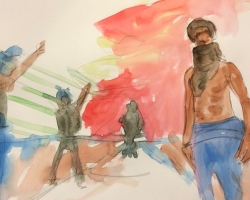#Ferguson. Watercolor on paper 2014 - 25 dollars