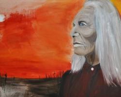Sun Salutation_Chief Shikoba $450 2014 oil on canvas 30 x 40 inches